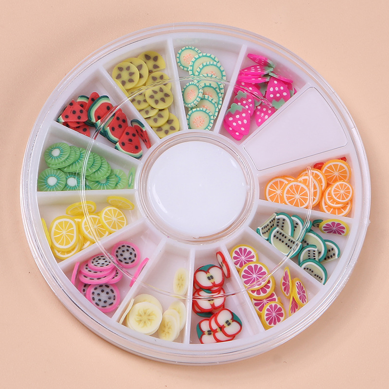 1Box Fruit Slices Filler For Nails Art Tips Slime Fruit For Kids Lizun DIY Slime Accessories Supplies Decoration Soft Pottery