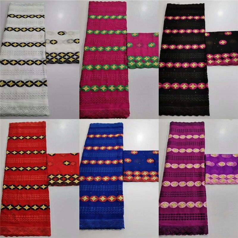Dentelle africaine tissu Voile suisse dentelle 5 + 2 yards/ensemble mariée nigériane français dentelle tissu sec coton dentelle tissu pour vêtements O93-1