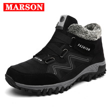 MARSON Men's Boots High Quality Male Shoes Suede Work Shoe Warm Fur Winter Casual Snow Bot Man Sneakers Mens Ankle Boots все цены