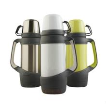 1200 ml Edelstahl Wasserflasche Thermoskanne Thermoskanne Große Kapazität Außenreisewasserkocher Trinken Flasche Cups mit Handgriff