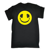 Yellow Headphone Smiley T SHIRT Tee Dj Party Dance Rave Funny Birthday Gift 123t Personalized T
