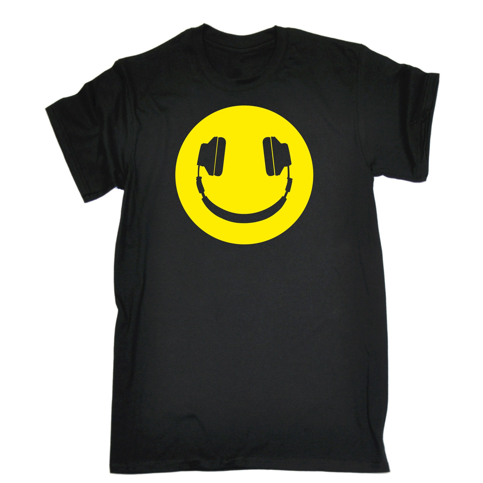 Yellow Headphone Smiley T-SHIRT Tee Dj Party Dance Rave Funny Birthday Gift 123t Personalized T Shirt T Shirt
