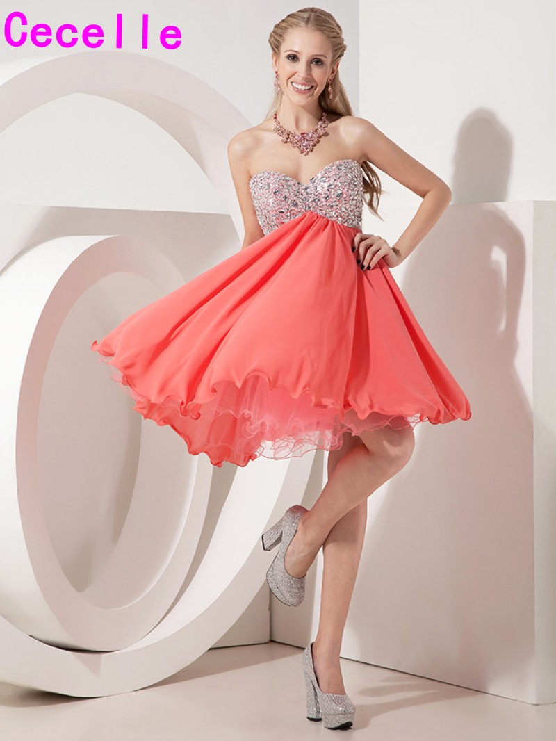 Short Mini A-line Coral Chiffon Prom   Cocktail     Dresses   Sweetheart Beaded Crystals Empire Waist   Cocktail   Party   Dresses   Custom Made