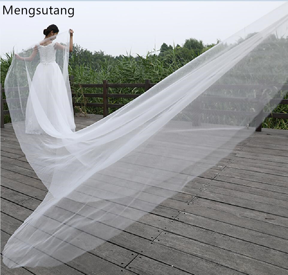 Wedding veil solid color bride wedding dress soft yarn meters long trailing