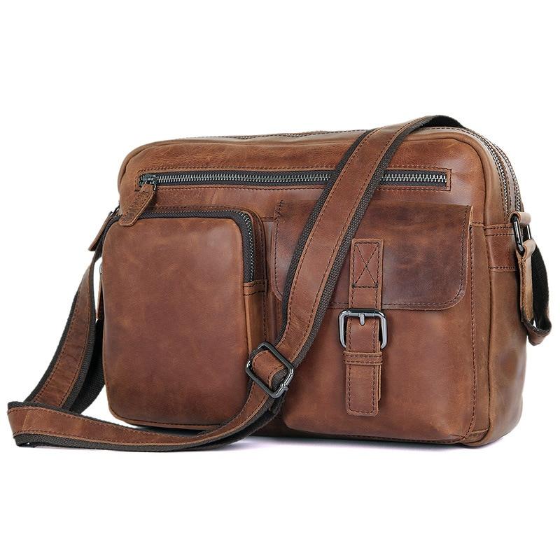 купить Vintage 100% Genuine Leather Men Ipad Bags Cowhide Leather Bags Men's Casual Vintage Messenger Bag Shoulder Bag Coffee #J1017 по цене 5090.29 рублей