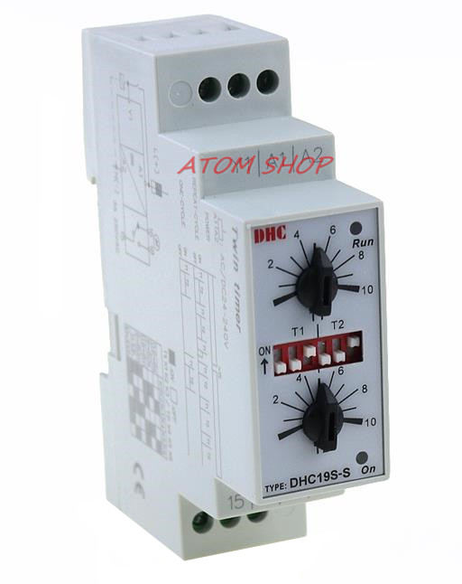 DHC19S-S Double Set Repeat Cycle DIN Rail Mouting Time Relay AC/DC24-240V Input TimerDHC19S-S Double Set Repeat Cycle DIN Rail Mouting Time Relay AC/DC24-240V Input Timer