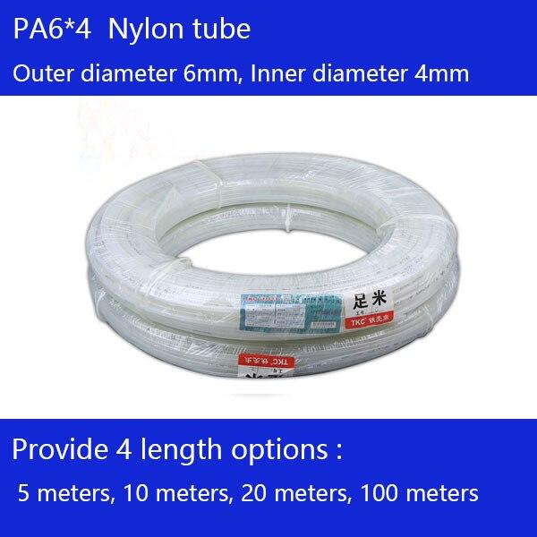 Free shipping 100 metri/lotto Tubo di Nylon PA6X4mm OD 6mm ID 4mm Plastica Flessibile Tubo PolyamideTube