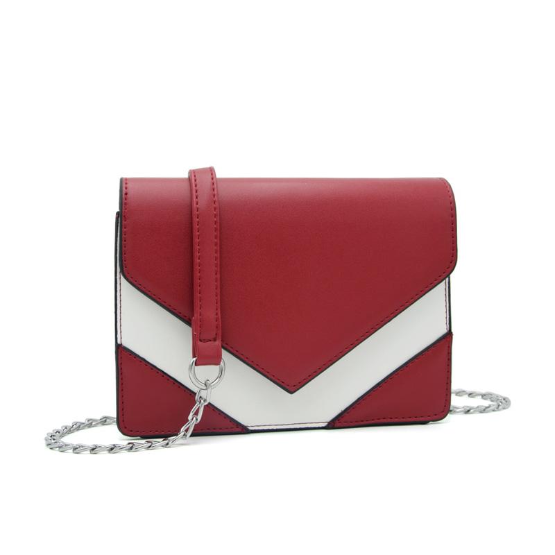 80549d5d2a 2017 New Summer Fashion Patchwork Women Crossbody Bag High Quality Leather  Female Chain Messenger Bag Lady V Shape Shoulder Bag