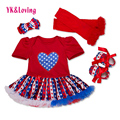 Toddler Baby Tutu Dresses Girls 4pcs Sets Shortsleeve Red Romper American Flag Pattern Pettiskirt Ruffles Dress Girl Clothes