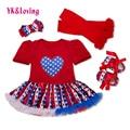 Toddler Baby Tutu Dresses Girls 4pcs Sets Shortsleeve Red Romper American Flag Pattern Pettiskirt Ruffles Dress Girl Clothes