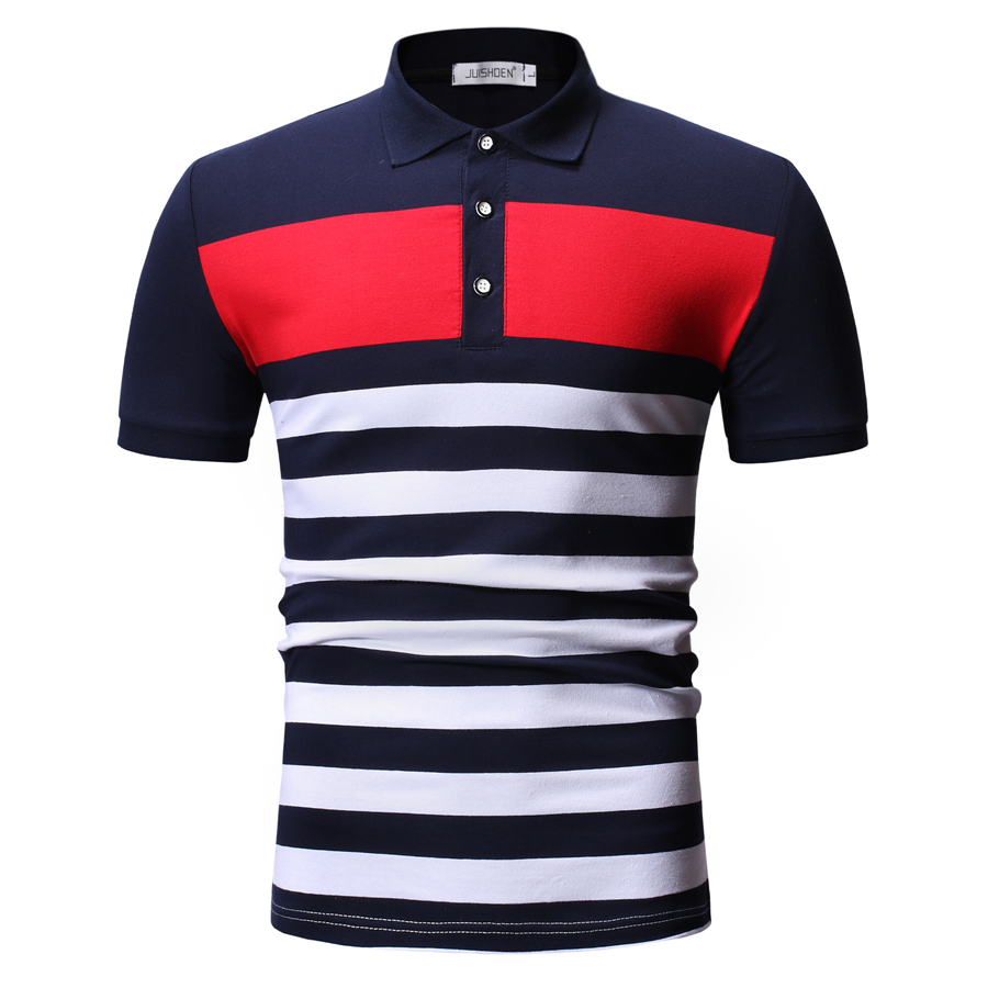 2019 Summer Casual   Polo   Shirt Men Striped Slim Fit Patchwork   Polos   Men