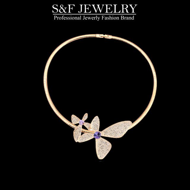 Cristal de Swarovski torques collar para las mujeres en joyería salegift clásico collar de cristal de joyería de moda caliente del verano 14678