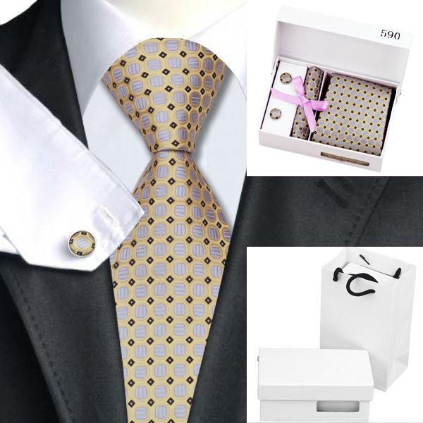 Hot Men Prata Dot Jacquard De Seda Laços Para Homens Gravata Amarela Saco Caixa de Presente Conjunto de Lenço Abotoaduras Casamento Negócios B-590