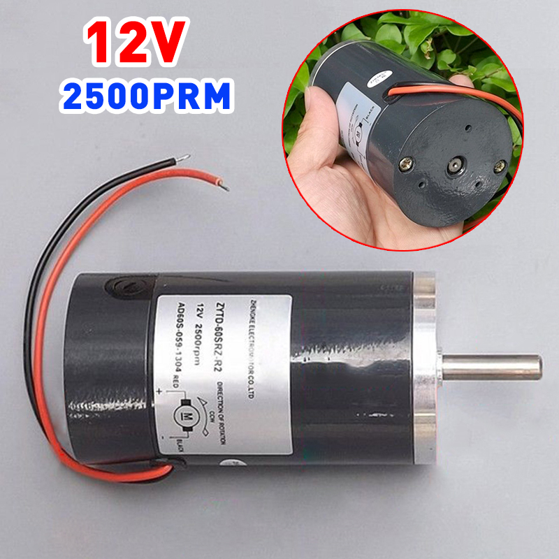 New DC 12V Carbon Brush Motor Reversible High Power DC Motor Ball Bearing 2500RPM 60W Electric Machinery Tool 10pcs 14mmx8mmx5mm power tool electric motor carbon brush replacement