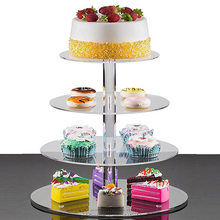 أكريليك 3/4 طبقة كعكة حامل الزفاف الكعك كأس مستدير حامل كب كيك حفلة عيد ميلاد الحلوى تقف عرض كب كيك تقف
