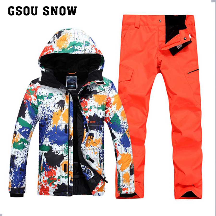 Prix pour GSOU SNOW Hommes Ski Costumes Veste + Pantalon imperméable à L'eau respirable Thermique Snowboard Imprimé Graffiti Ski Costume