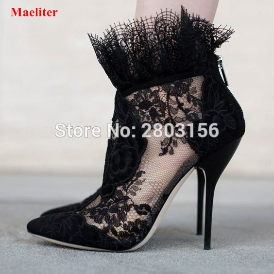 Fashion Women Pointed Toe Booties Sexy Blacek Lace Ankle Boots Back Zipper High Heels Boots Female Dress Shoes fashion kardashian ankle elastic sock boots chunky high heels stretch women autumn sexy booties pointed toe women pumps botas