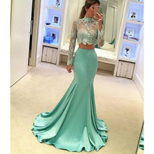 Long Sleeves Mint Green Mermaid High Neck Satin 2 Pieces Prom Dresses 2017 Evening Gowns Vestidos De Baile