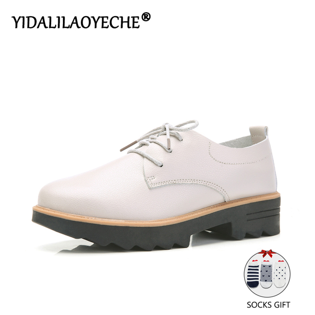 YIDALILAOYECHE 2019 High Quality Fashion Women Flats Loafers Rubber sole Designer Lace-up Solid Elegant Shoes chaussures femme