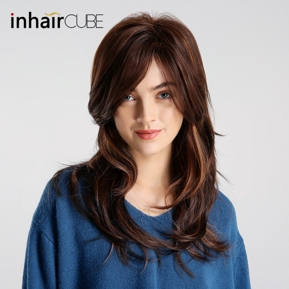 Synthetic None-lacewigs Sporting Inhair Cube 26 Inch Womens Wigs Long Natural Wave Synthetic Layered Style Hair Light Brown With Full Wigs Hair Extensions & Wigs