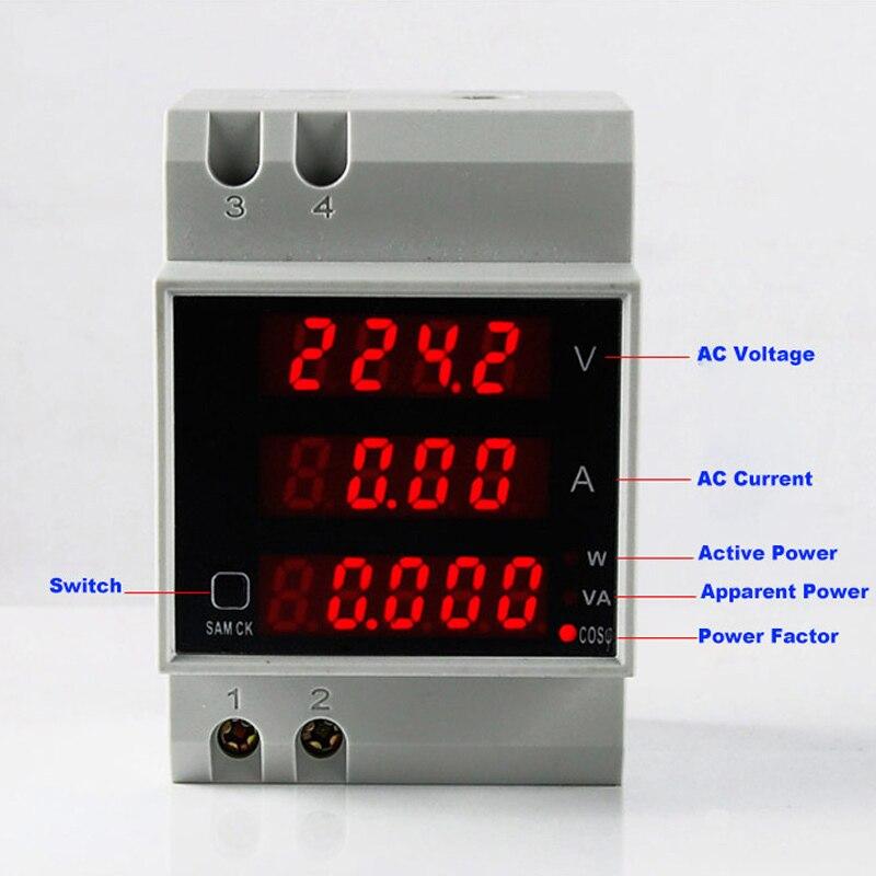 Din рейка светодиодный Вольт Амперметр дисплей активный коэффициент мощности энергия AC 80 300 В 0 100.0A Амперметр Вольтметр D52 2048
