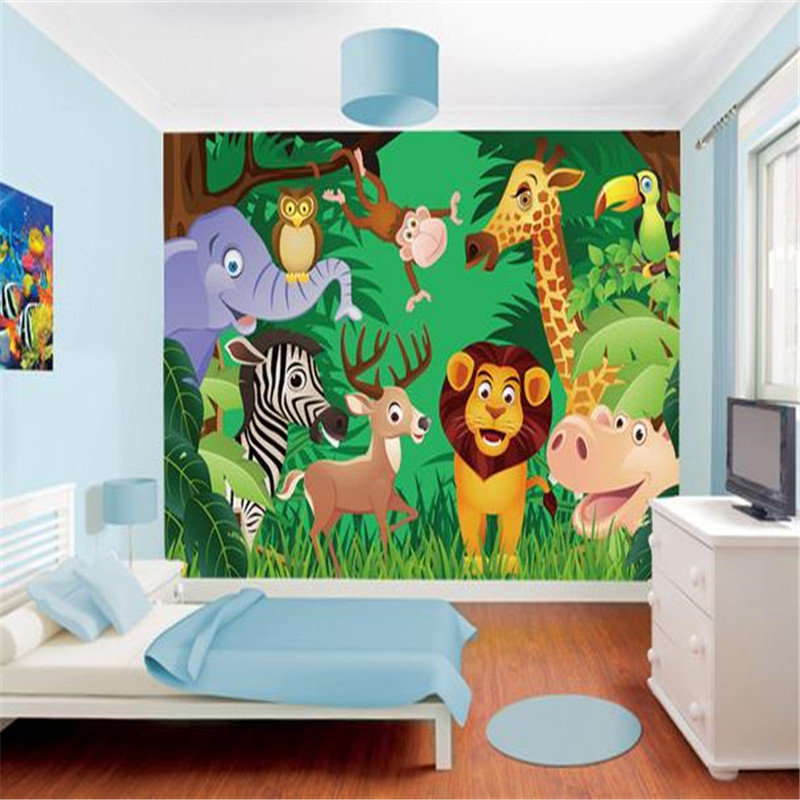 HD Custom Photo Wallpapers Cartoon Pattern Giraffe World Murals Children Room Wall Papers For Living Room Home Decor Tree Forest custom large 3d wallpapers cartoon dog cat animals murals kids walls papers for children room living room home decor painting