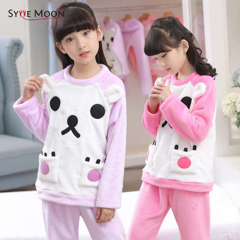 Syue Moon Girls Flannel Pajamas Sets Kids Cute Bear Pyjamas Children Warm Thick Sleepwear Baby Boy Homewear Nightwear Clothes baby boy girls kid cartoon clothing pajamas sleepwear sets nightwear outfit children clothes