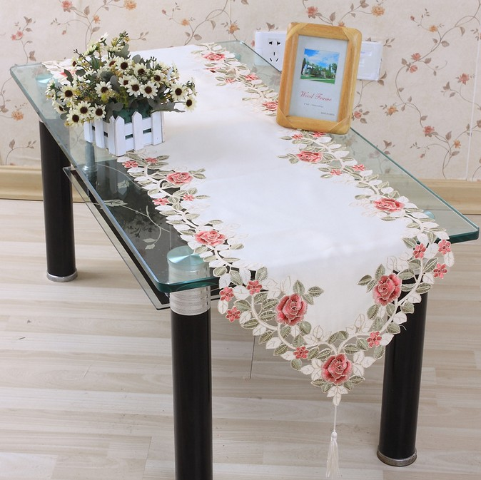 Aliexpress.com : Buy Hot Sell Polyester 40*200cm Floral Runner Embroidery  Table Cloth Embroidered Tablecloth Covers Cutwork Hand Free Shipping TCE04  From ...