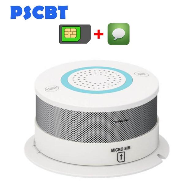 PSCBT GSM SMS كاشف الدخان جهاز إنذار حرائق حماية الاستشعار GSM بطاقة SIM رسالة الدخان إنذار رقم الهاتف كاشف الحريق