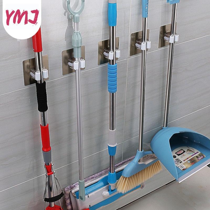 Multi-function Bathroom Hooks Wall Mounted Waterproof Mop Hanger  Hook Broom Holder Umbrella Storage Rack Kitchen Tools