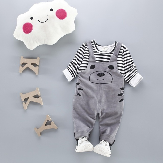 2017 Spring baby girls/boys clothing sets 0-2 years fashion infant cotton long sleeve T-shirt +pant 2pcs overalls suits