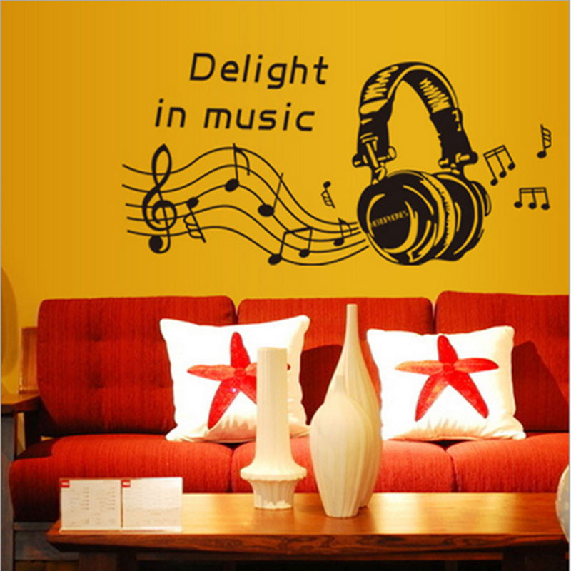 1X Creative Music headphones DJ Headphones Wall Stickers Boys Room ...
