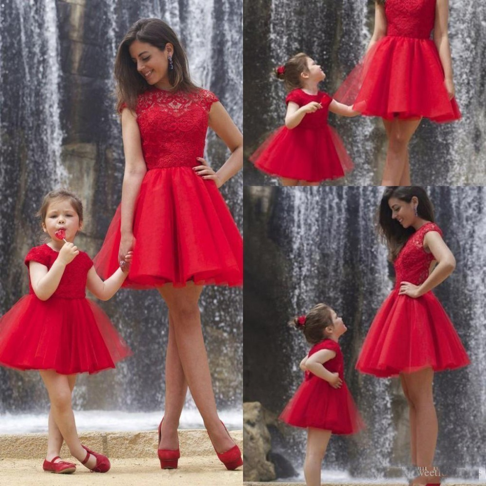 Red Short Mother And Daughter   Prom     Dresses   Party   Dress   Cheap Applique Lace Keyhole Formal Holiday Gowns 2019