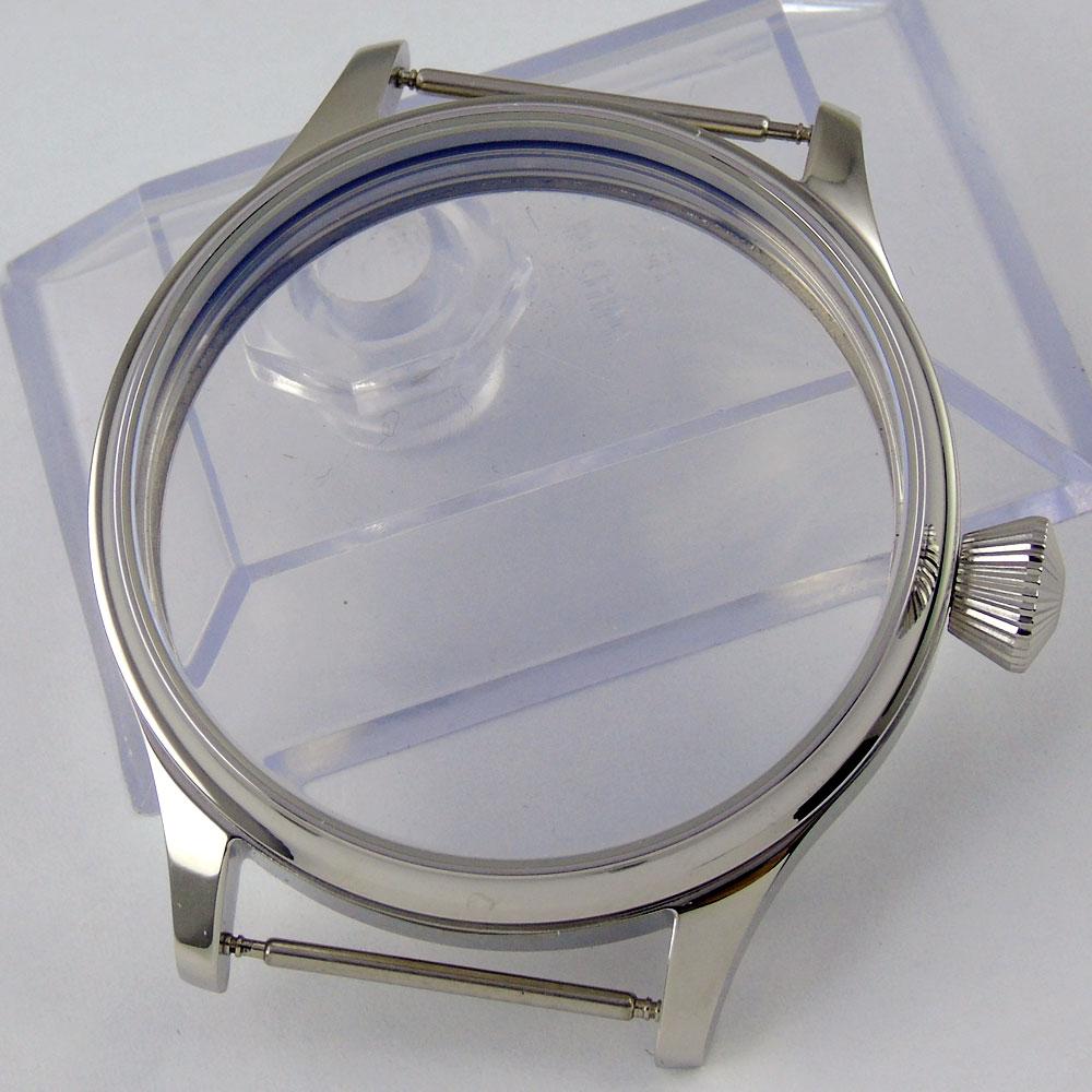 Caixa do Relógio em Aço Polido de Alta Qualidade de Vidro Caixa do Relógio Milímetros Parnis Inoxidável Mineral Endurecido Ajuste Eta 6497 Movimento 6498 44