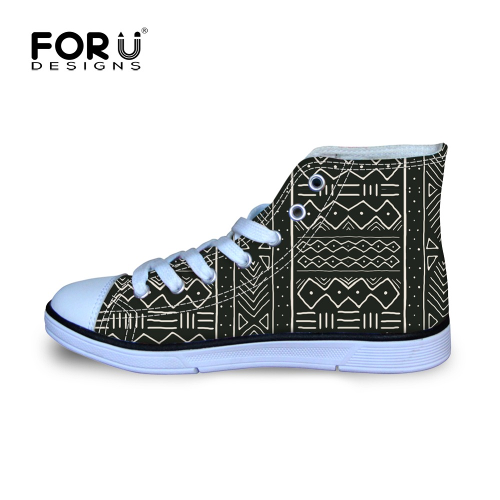 33b847e33f5 FORUDESIGNS Kids Shoes for Girls Boys African Pattern Prints Children  Comfortable Canvas Shoes High Top Kids Breathable Sneakers