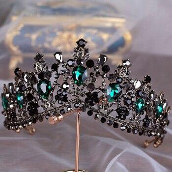 KMVEXO Europäischen Grün Kristall Tiaras Vintage Schwarz Strass Pageant Crown Barock Braut Hochzeit Haar Schmuck Zubehör Geschenk