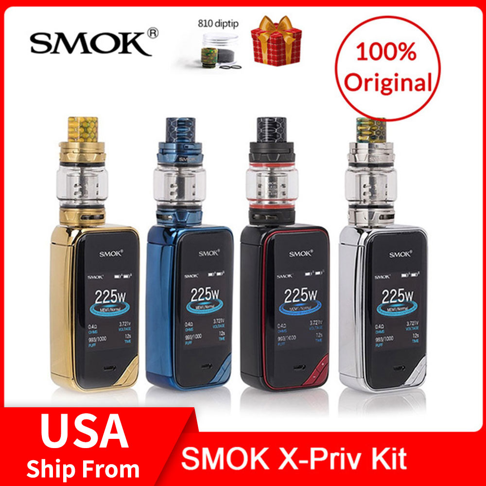Original SMOK X-priv 225W Kit com TFV12 Príncipe Tanque 8ml + Q4/T10 Bobinas Para kit vape Cigarro eletrônico x priv VS G-priv 2/MAG