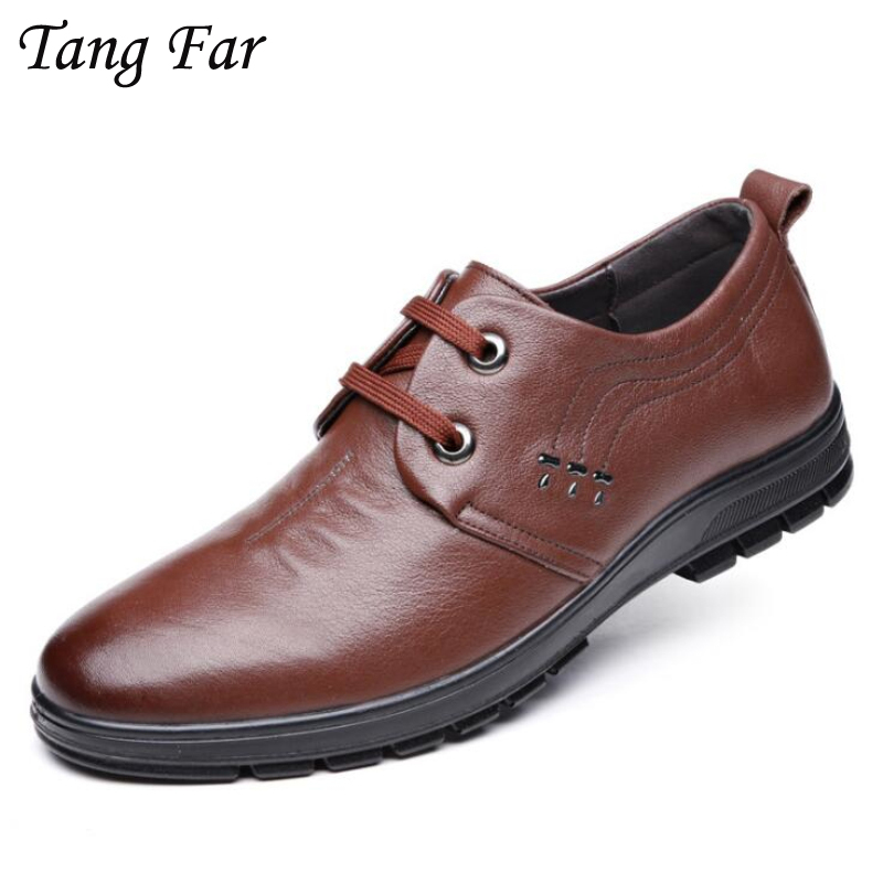 Big Size 47-39 Men Leather Casual Shoes Genuine Leather Breathable Leisure Flats Brand New Quality Business Shoes