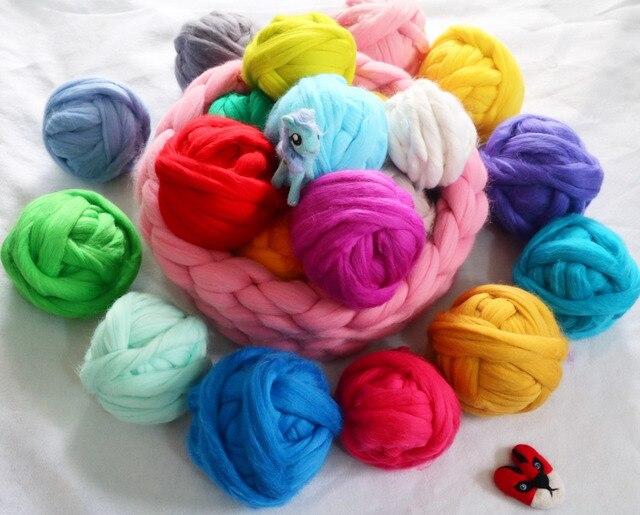 10pcs Lot Super Soft 100 Merino Wool Yarn Chunky Bulky Wool Roving