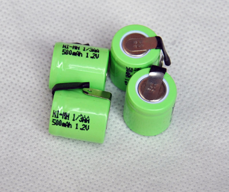 4PCS/lot 1.2V 1/3AA 500mAh Ni-Mh Nimh 1/3 AA Rechargeable Battery cell with welding feet leg pins tab flat top