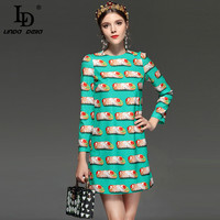 LD LINDA DELLA New 2018 Fashion Designer Runway Dress Women S Long Sleeve Burger Print Casual