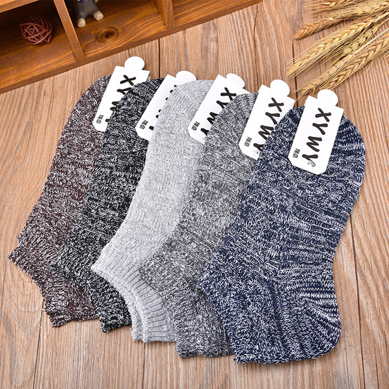 5pair/P Men Socks Brand Quality Cotton Casual Breathable 3 Pure Colors Socks Calcetines Mesh Short Boat Socks For Men