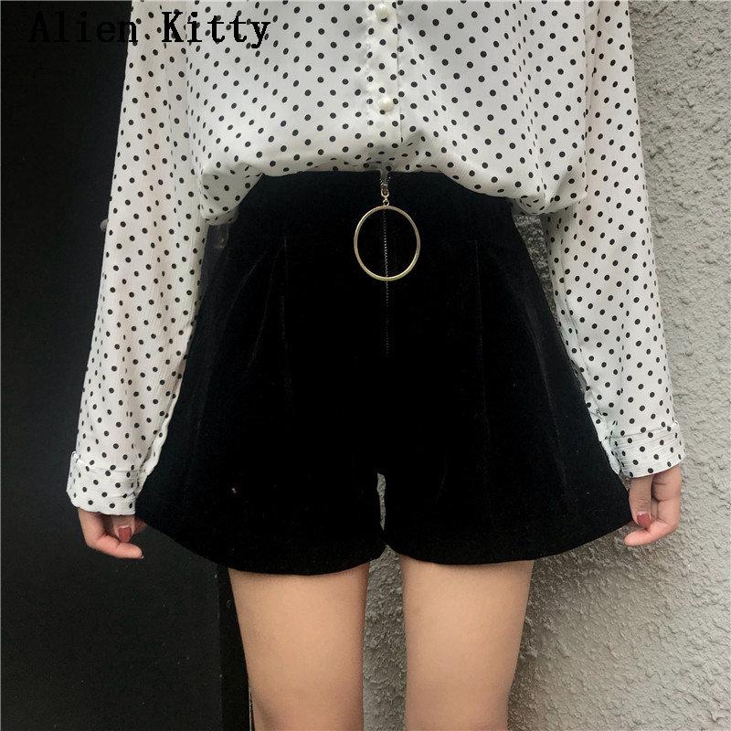 Alien Kitty 2019 Fashion Summer Zipper Fly Empire Women Solid Fresh High Waist Short Women All-match Loose Soft Black Shorts