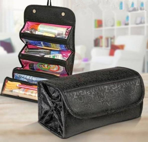 Cosmetic Bag Makeup Tools Bag Fashion Female Makeup Hanging Loop Women Toiletries Case Jewelry Organizer Zipped Compartment
