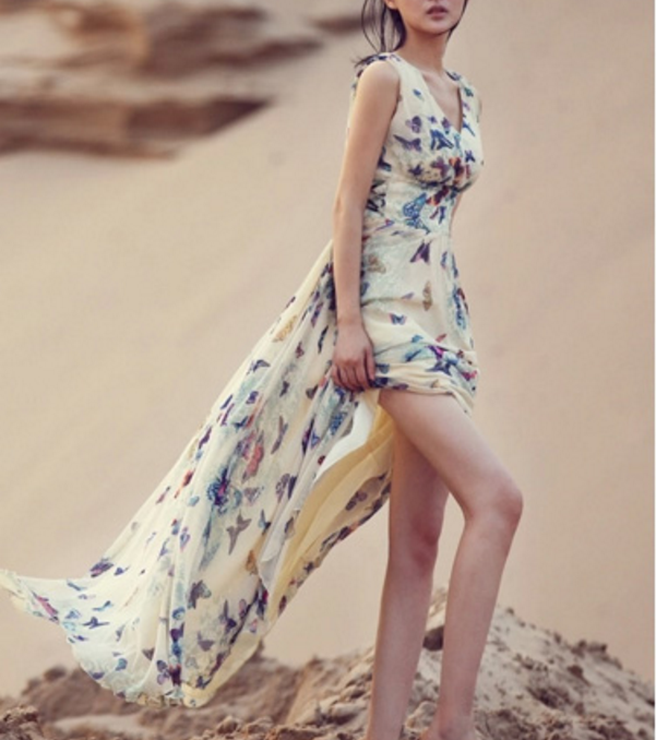 Sexy Women Summer Dress Maxi Long Chiffon Beach Dresses Loose Casual  Butterfly Printed Dress Slim Brand Vestidos PlusSize XXXL-in Dresses from  Women s ... 11a60c32eb1c