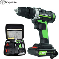 21V electric screwdriver mini electric drill rechargeable battery power tool household cordless drill with power display 2 batte