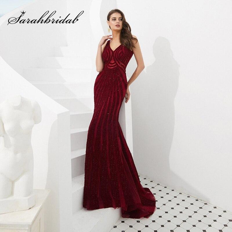 2019 été v-cou sirène robe de soirée nouvelle dentelle Noble brillant strass vin rouge mariage Banquet bal robe de soirée L5488