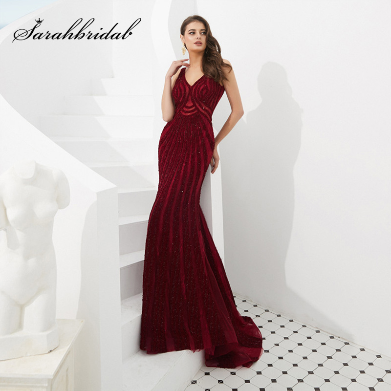 2019 Summer V-Neck Mermaid Evening Dress New Noble Lace Shining Rhinestone Wine Red Wedding Banquet Prom Party Dress L5488