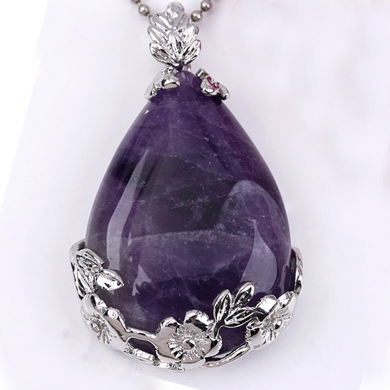 Wholesale 20pcs Amethyst crystal Water droplets form Bead Pendant Jewelry For Necklace