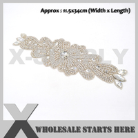 (34cm Length) Beaded Bridal Rhinestone Applique Patch With Iron On Backing for Sash,Wedding Bridal Dress Decoration,X1 RAT2493